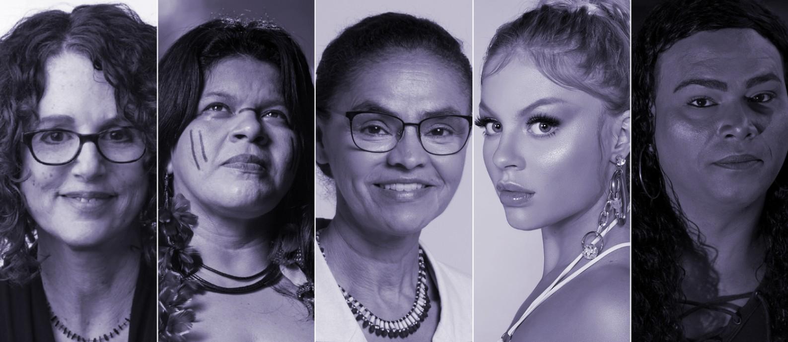 Da esquerda para direita: a escritora Robin Diangelo, a ativista Sonia Guajajara, a ex-senadora Marina Silva, a cantora Luísa Sonza e a reverenda Alexya Salvador Foto: Reprodução