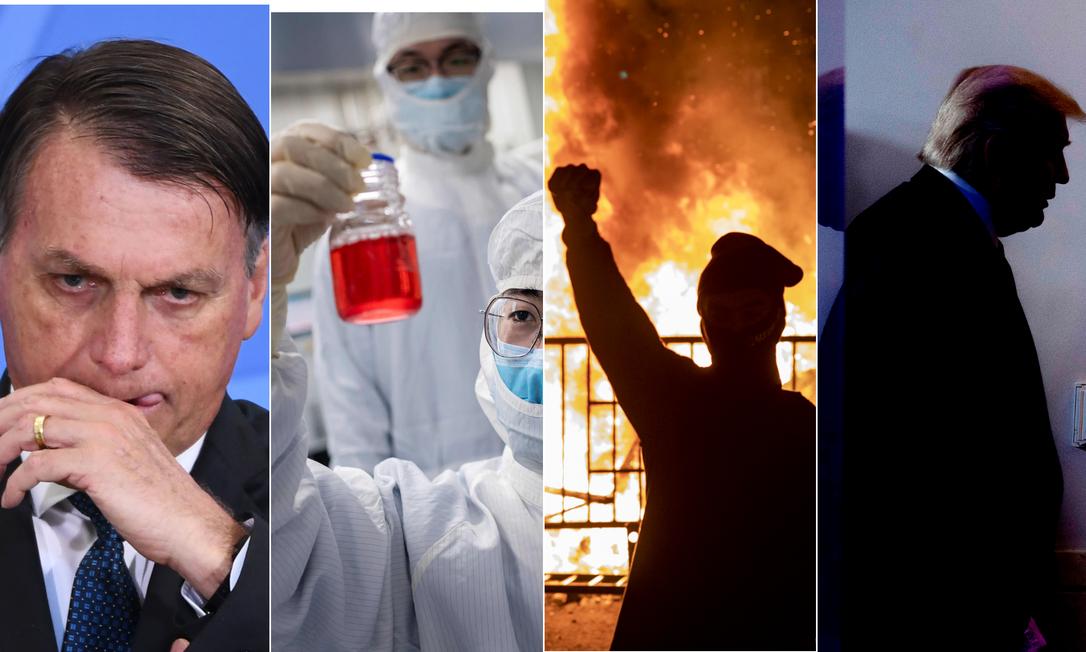 O presidente Jair Bolsonaro, o coronavírus e a busca pela vacina, a luta antirracista e a eleição americana estão entre os temas da Retrospectiva 2020 Foto: Montagem