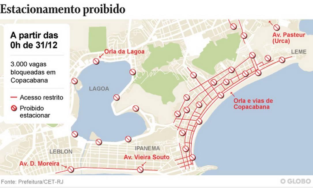 Prefeitura criou 54 pontos de bloqueios para controlar o acesso à orla do Rio Foto: Arte O Globo