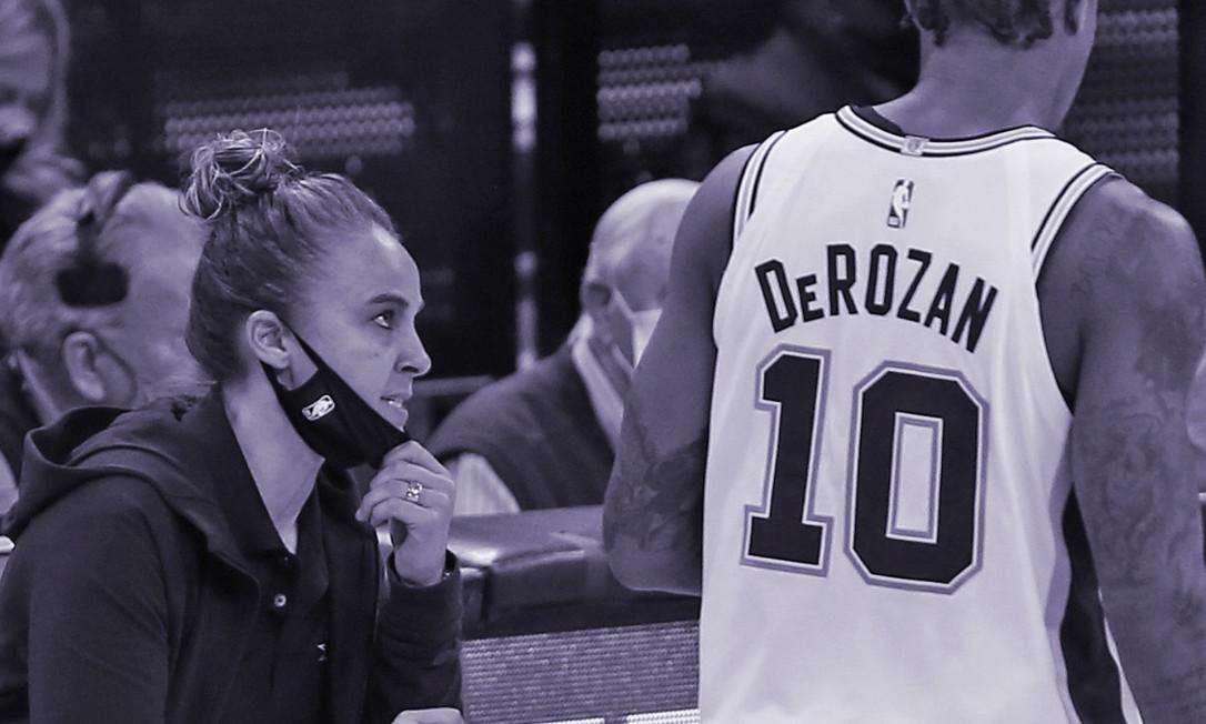 Becky Hammon em ação no comando do San Antonio SpursBecky Hammon em ação no comando do San Antonio Spurs Foto: Ronald Cortes / AFP