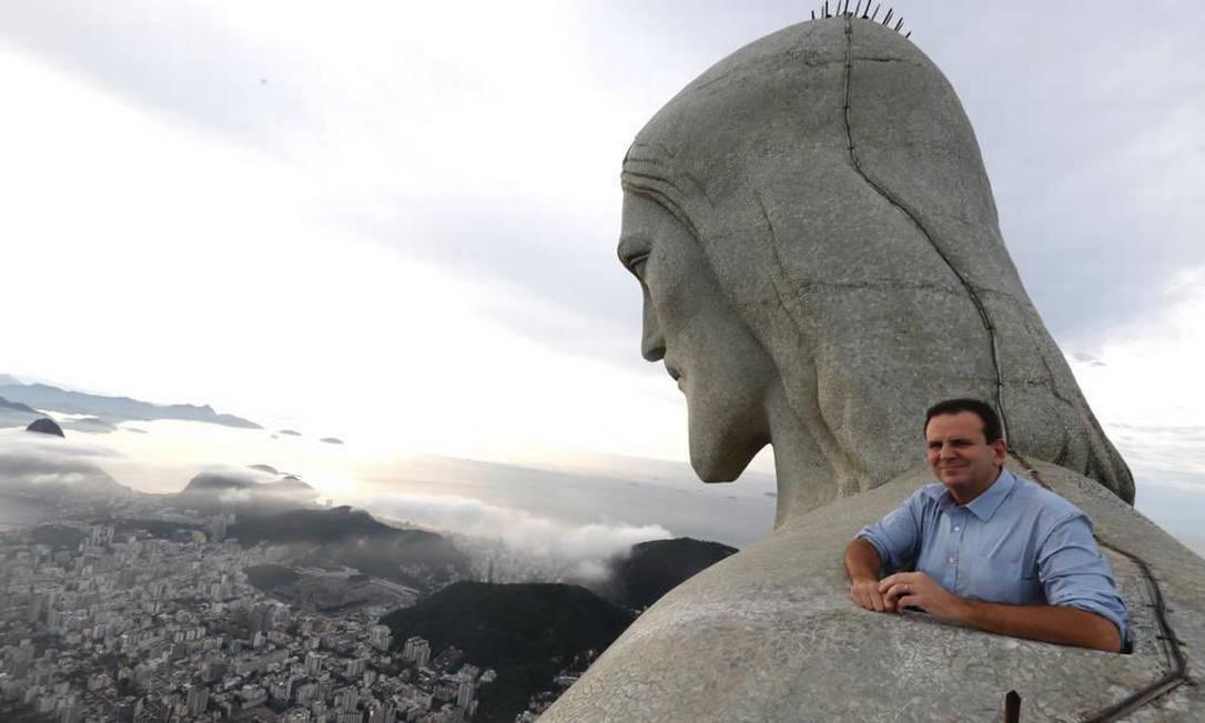 Prefeito postou foto no Cristo Redentor em suas redes sociais Foto: Reprodução