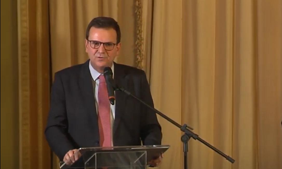 O prefeito eduardo Paes discursa após secretários tomarem posse Foto: Reprodução