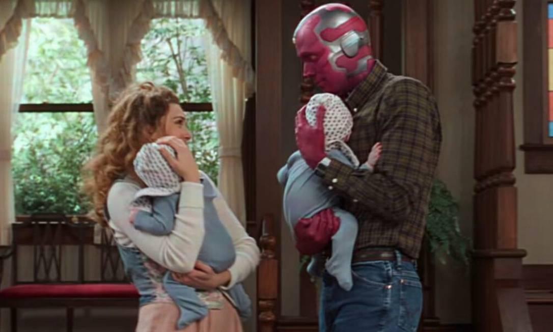 Cena da séreie 'WandaVision', sitcom com personagens do universo Marvel. Foto: Reprodução