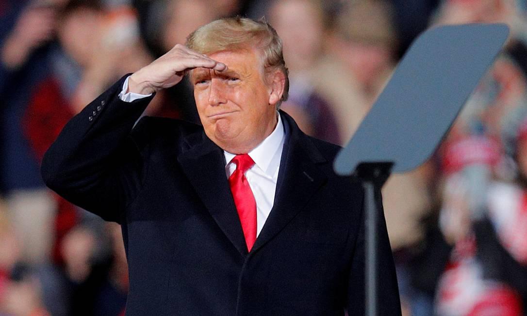 Presidente dos Estados Unidos, Donald Trump, em comício eleitoral para segundo turno ao Senado na Geórgia Foto: BRIAN SNYDER / REUTERS