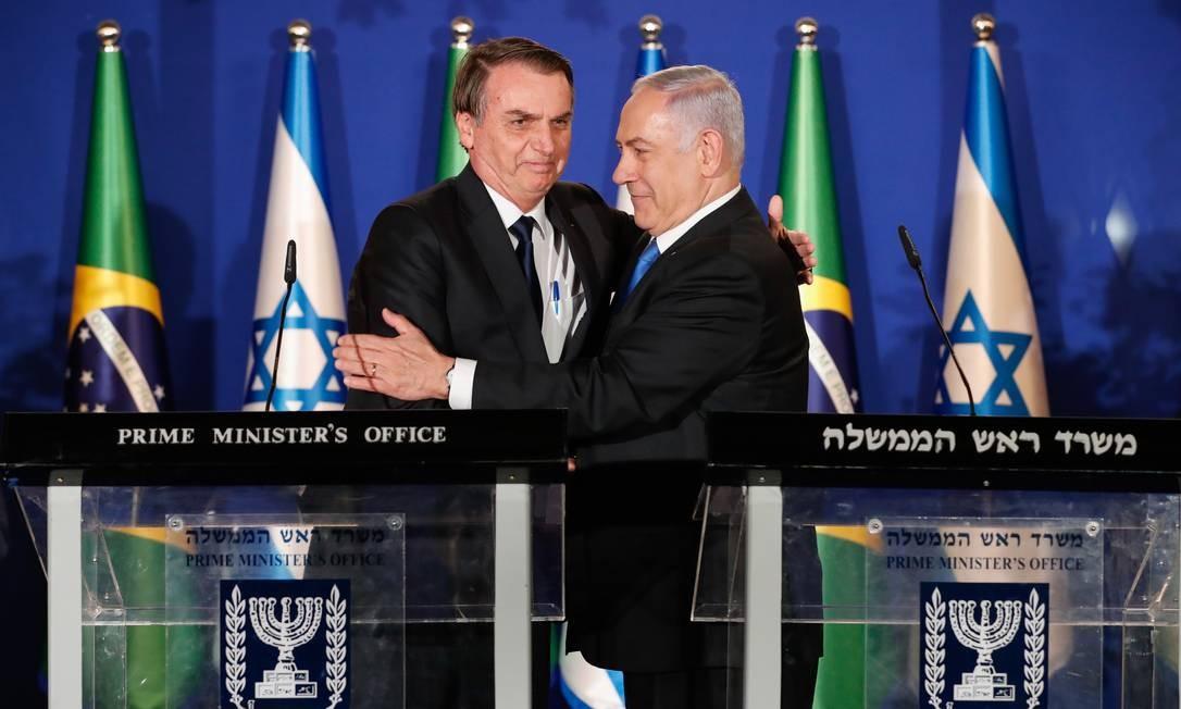 O presidente Jair Bolsonaro e o primeiro-ministro Benjamin Netanyahu, durante jantar em Jerusalém Foto: Alan Santos/Agência O Globo/31-03-2019