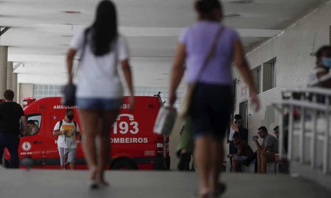 Hospital Souza Aguiar: no município, última atualização dá conta de 92% de ocupação nos leitos de UTI para Covid-19 Foto: Fabiano Rocha / Agência O Globo