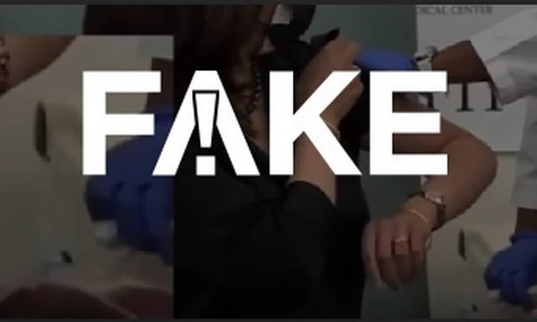 É #FAKE que vídeo mostre Kamala Harris fingindo tomar vacina contra Covid-19 Foto: Reprodução