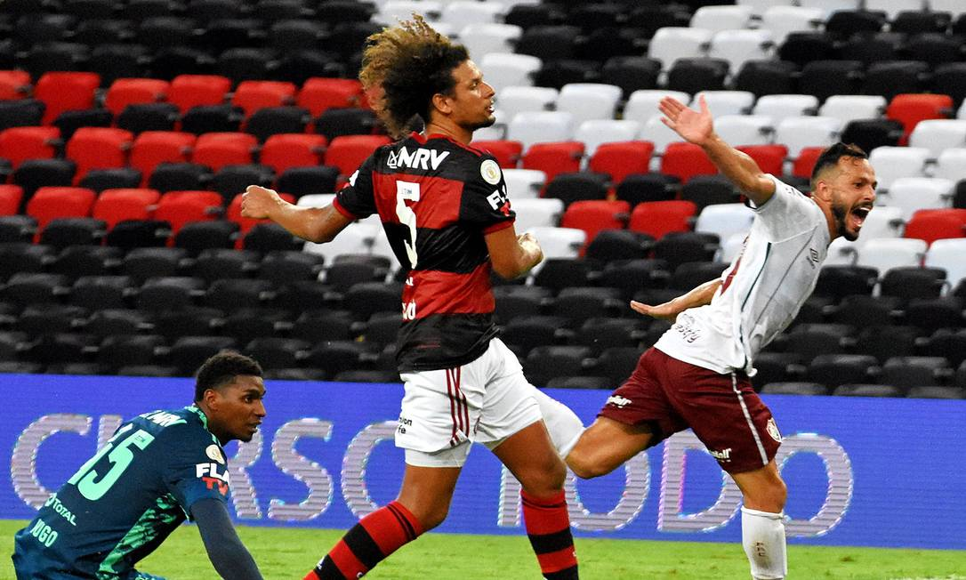 Yago Felipe comemora o gol sobre o Flamengo, no Maracanã Foto: Mailson Santana/Fluminense FC / Agência O Globo