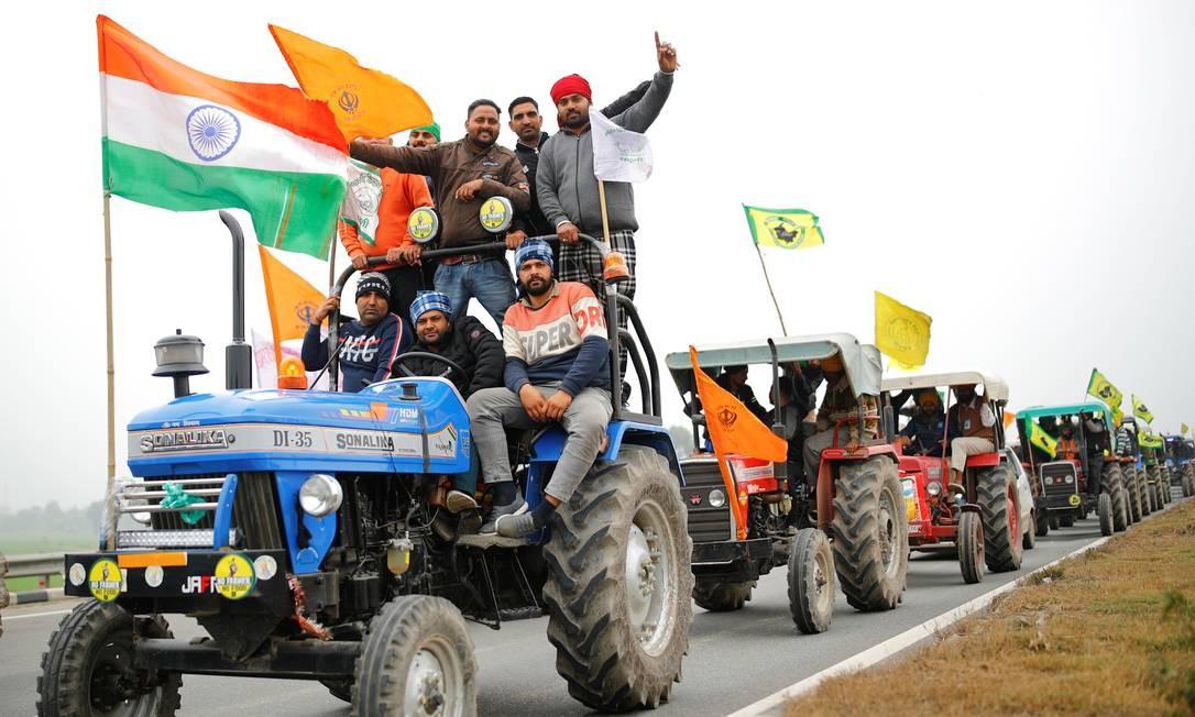 Agricultores na Índia protestam desde o final de novembro contra novas leis agrárias Foto: Adnan Abidi / Reuters