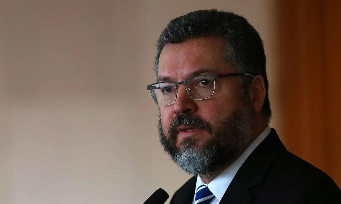 O ministro das Relações Exteriores, Ernesto Araújo, durante cerimônia no Itamaraty Foto: Jorge William/Agência O Globo/20-10-2020