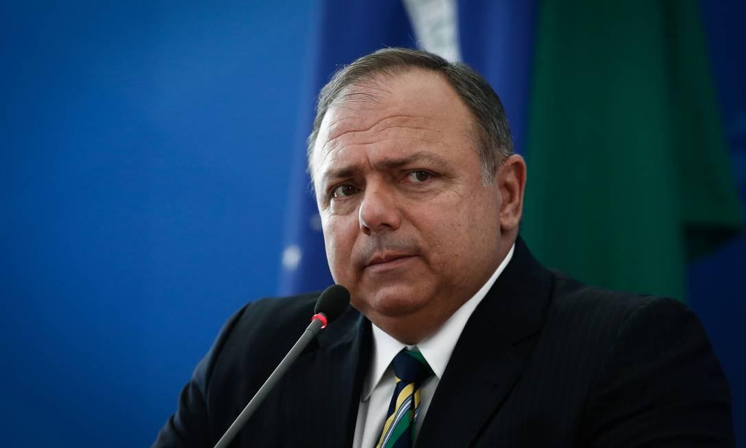 O ministro da Saúde, Eduardo Pazuello, durante entrevista coletiva no Palácio do Planalto Foto: Pablo Jacob/Agência O Globo/16-12-2020