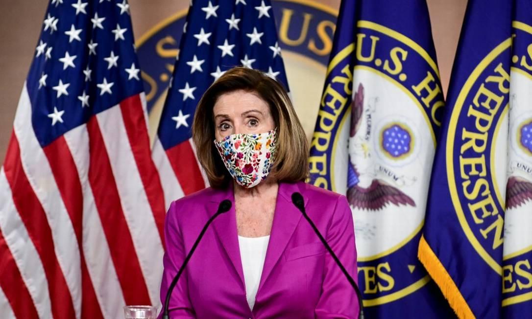 Presidente da Câmara, Nancy Pelosi, em entrevista coletiva no Capitólio Foto: ERIN SCOTT / REUTERS / 7-1-21