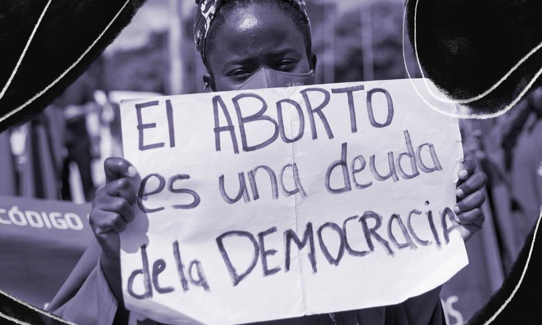'O aborto é uma dívida da democracia', diz cartaz de manifestante pela legalização do aborto Foto: AFP