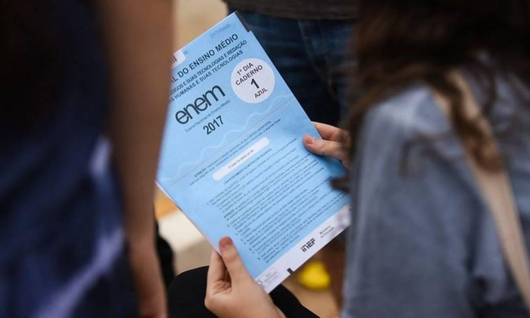 Participante em prova do Enem em 2017; alguns grupos defendem novo adiamento da prova, para dar mais tempo de alunos se prepararem e de o país sair do pico de novos casos da covid-19 Foto: MARIANA LEAL/MEC