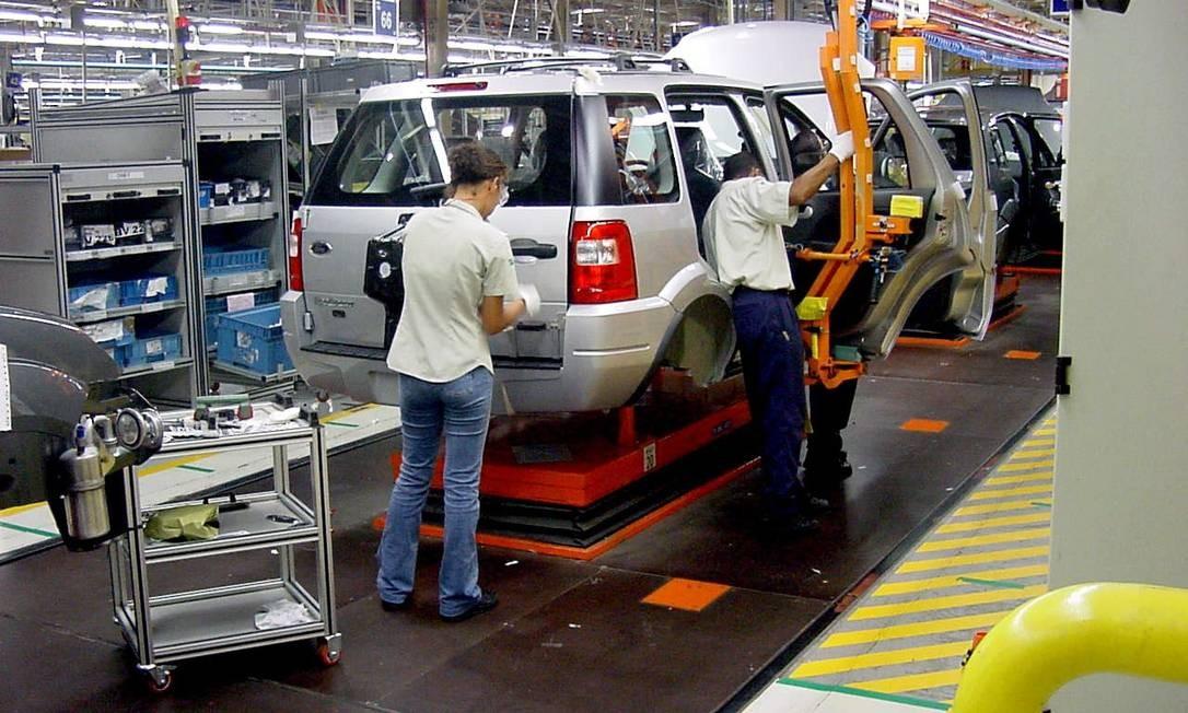 Fábrica da Ford em Camaçari, na Bahia: linha de montagem do EcoSport. Unidade será fechada Foto: Ford/Divulgação/Janeiro de 2003 / Bloomberg