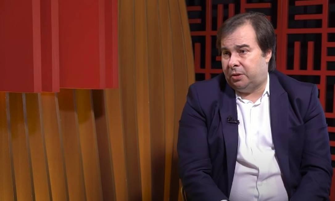 Rodrigo Maia (DEM-RJ), presidente da Câmara dos Deputados, durante entrevista concedida nesta segunda-feira Foto: Reprodução