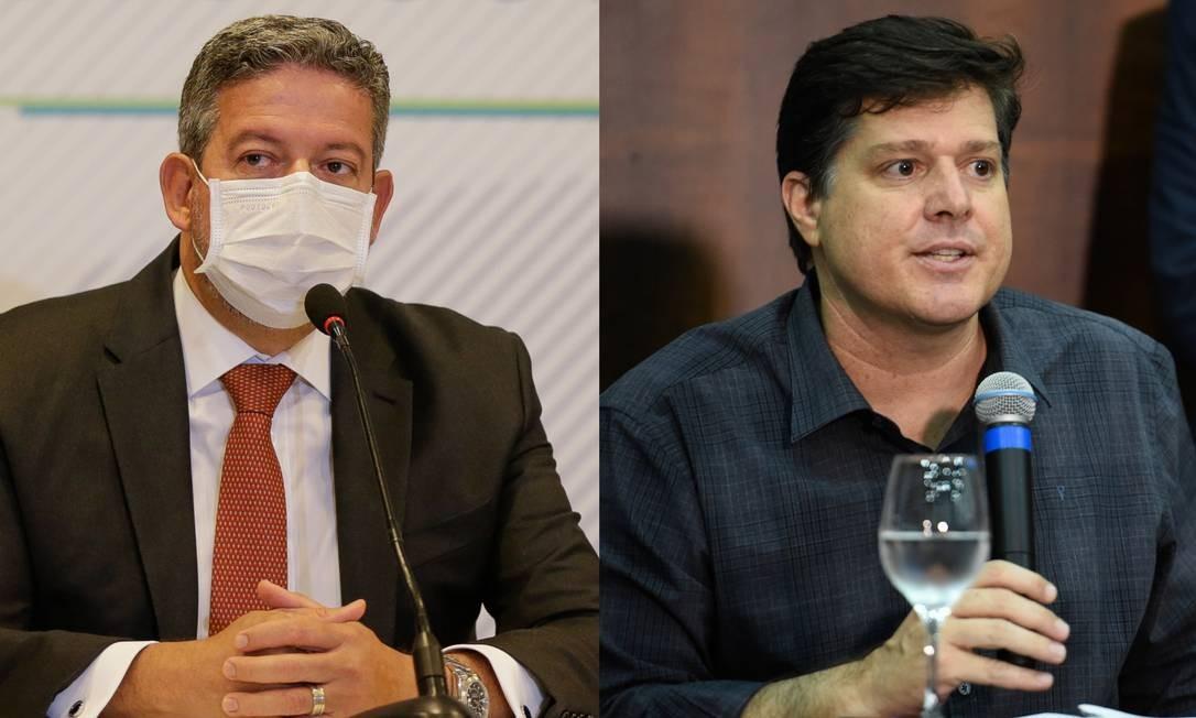 Arthur Lira (PP-AL) e Baleia Rossi (MDB-SP), candidatos à presidência da Câmara, participam de agendas na segunda-feira Foto: Agência O Globo