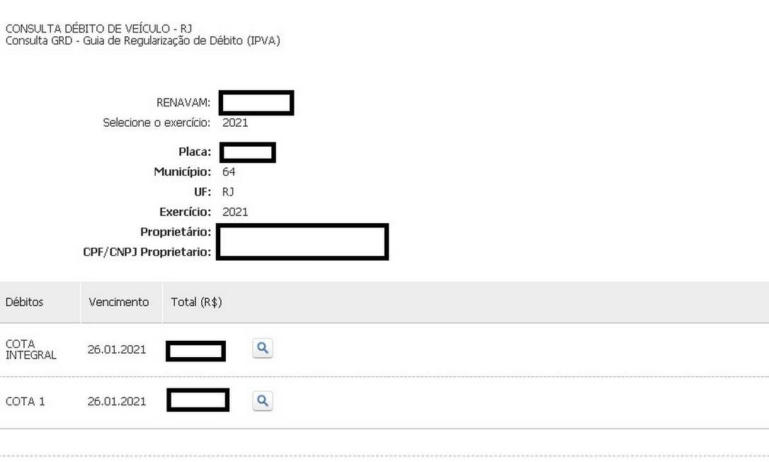 Tela mostra os dados do veículo e do proprietário, além do valor da cota integral e da primeira parcela Foto: Reprodução