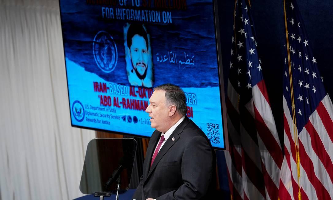 Secretário de Estado, Mike Pompeo, durante discurso nesta terça-feira Foto: POOL / REUTERS