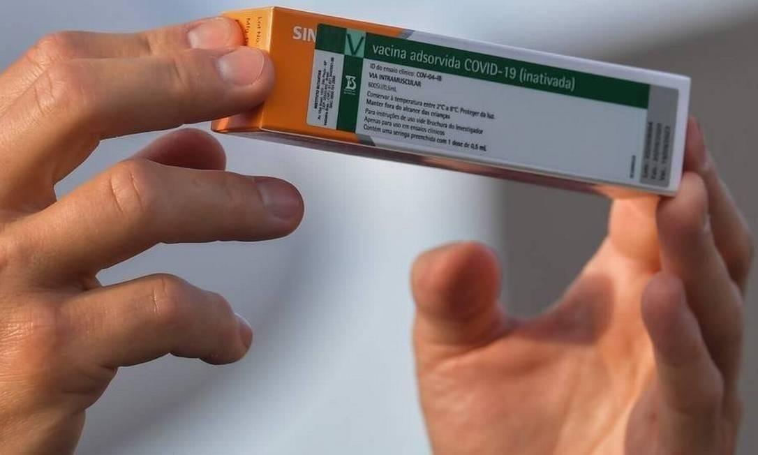 São Paulo já tem as primeiras 10,8 milhões de doses da CoronaVac, diz governo Foto: NELSON ALMEIDA / AFP