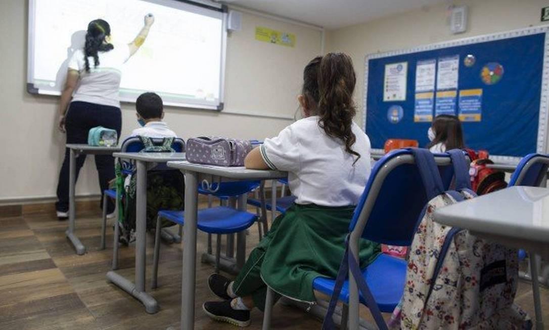 Aula em escola particular na Zona Sul do Rio em 15/09/20 Foto: Márcia Foletto / Agência O Globo