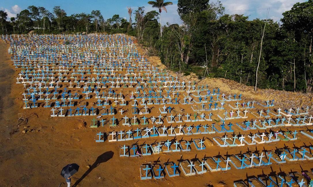 Área reservada a mortos por Covid-19 no Cemitério Nossa Senhora Aparecida, em Manaus Foto: Michael Dantas/AFP/27-12-2020