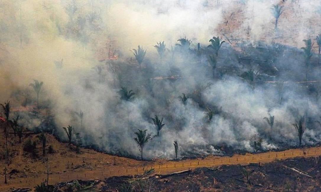 Incêndio na cidade de Boca do Acre (AM): Amazônia está chegando ao ponto de inflexão, quando floresta não consegue cumprir seus processos naturais Foto: AFP