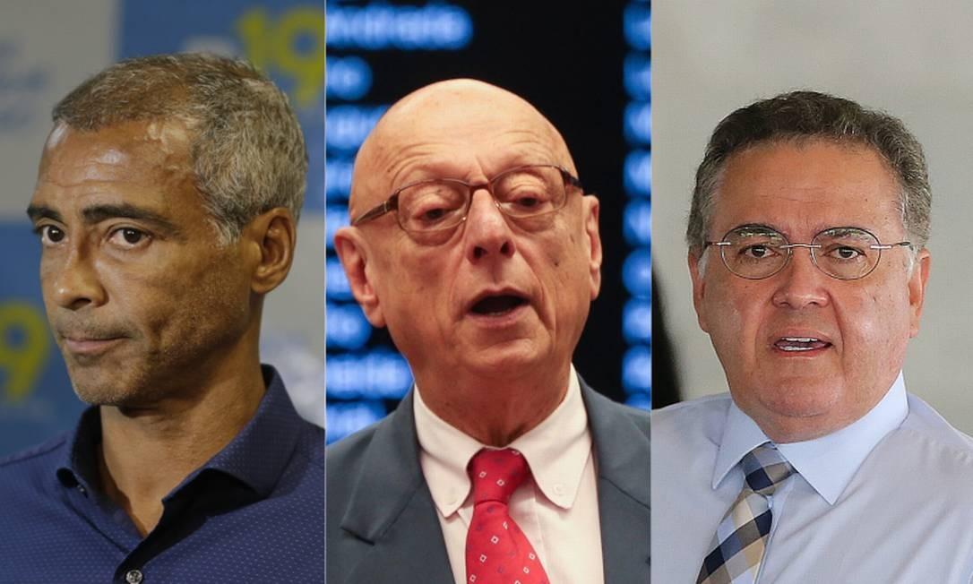 Os senadores Romário (PODE-RJ), Esperidião Amin (PP-SC) e Roberto Rocha (PSDB-MA) Foto: Agência O Globo