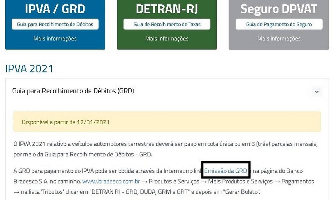 Na página do IPVA, procure o serviço Emissão da GRD Foto: Reprodução