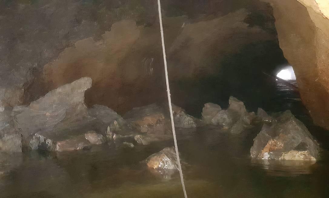 Bloqueio: conjunto de pedras cercam a passagem do mar para a lagoa, dificultando a renovação das águas Foto: Divulgação / Paulo Oberlander