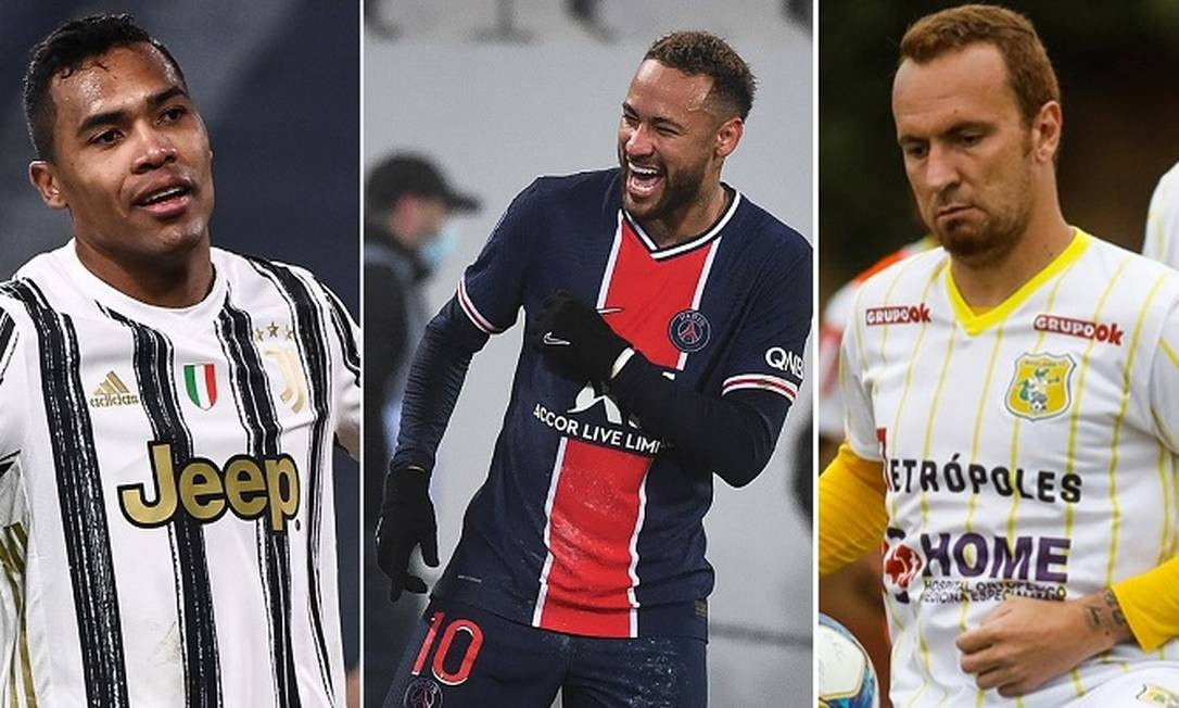 Alex Sandro, Neymar e Zé Love: campeões em 2011 Foto: Montagem / AFP e Divulgação