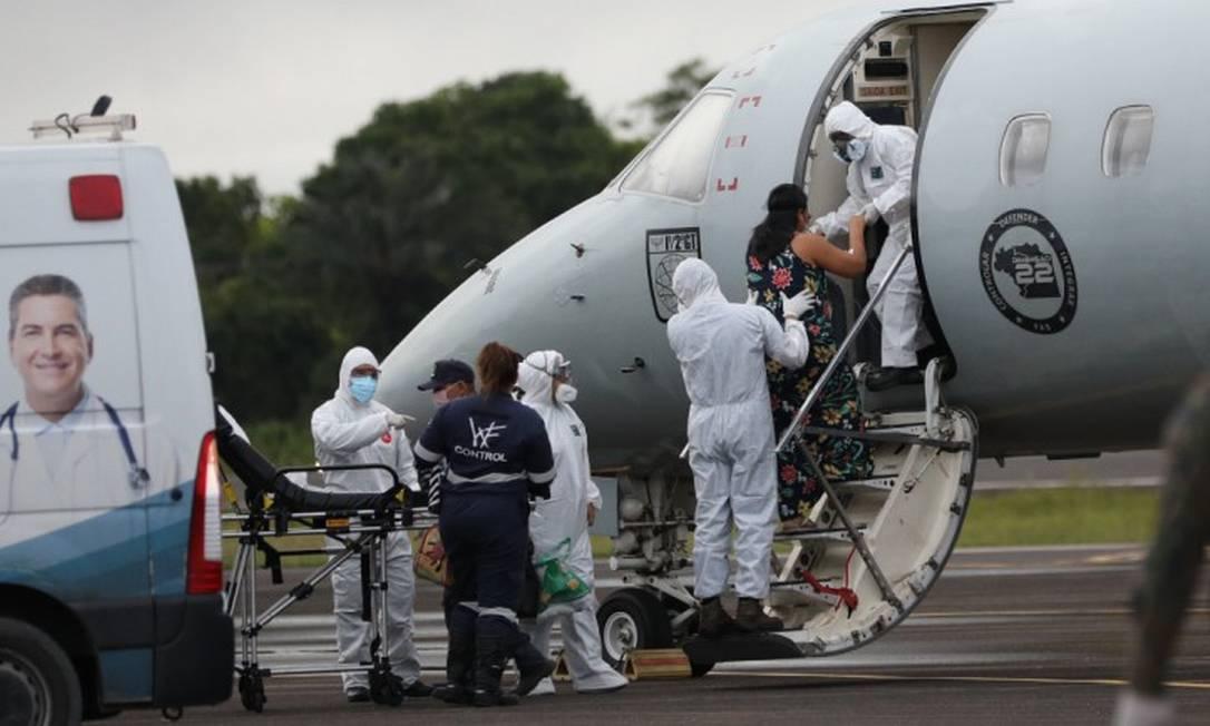 Pacientes com Covid-19 internados em Manaus são transferidos para o Piauí por conta da falta de oxigênio nas unidades de saúde Foto: Agência O Globo