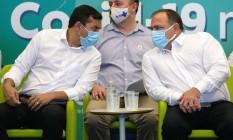 O governador do Amazonas, Wilson Lima, e o ministro da Saúde, Eduardo Pazuello, durante evento em Manaus Foto: Michael Dantas/AFP/11-01-2021