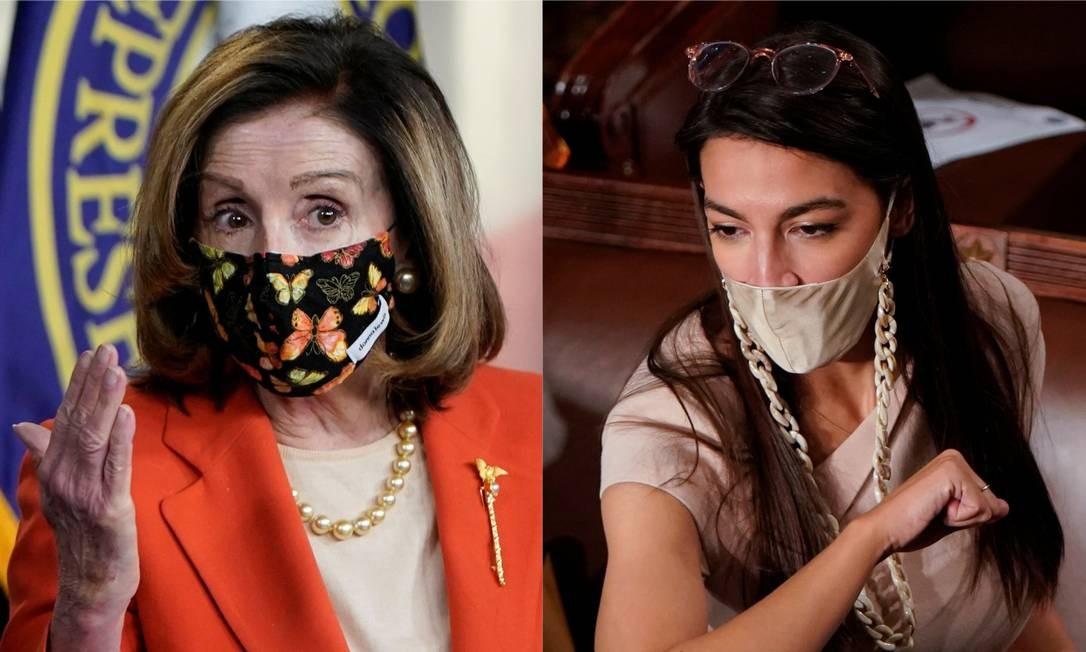 As deputadas democratas Nancy Pelosi, representante do establishment do partido, e Alexandria Ocasio-Cortez, da ala mais progressista Foto: Joshua Roberts / Reuters