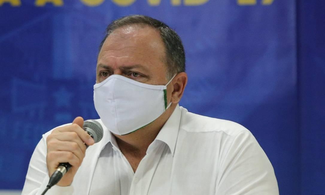 O ministro da Saúde, Eduardo Pazuello, durante entrevista Foto: Euzivaldo Queiroz/ Ministério da Saúde