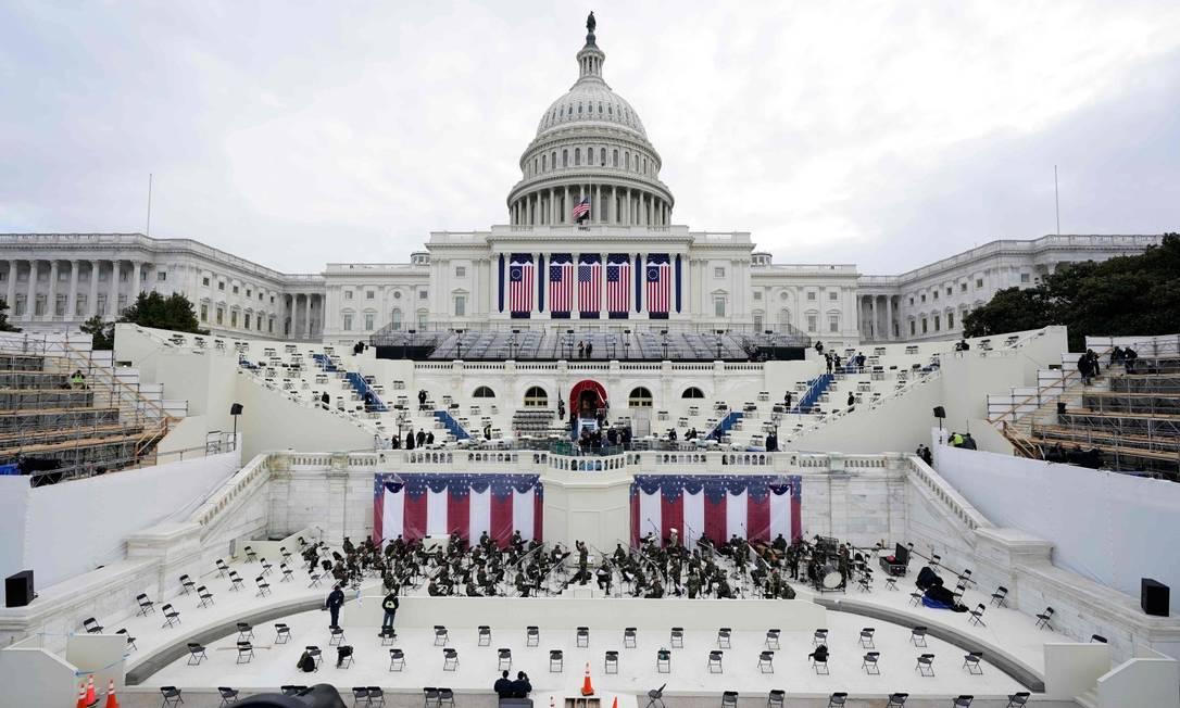 Capitólio dos Estados Unidos, durante ensaio para cerimônia de posse Foto: PATRICK SEMANSKY / AFP / 18-1-21