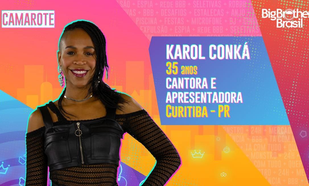 A rapper Karol Conká, uma das participantes do BBB21 Foto: Divulgação