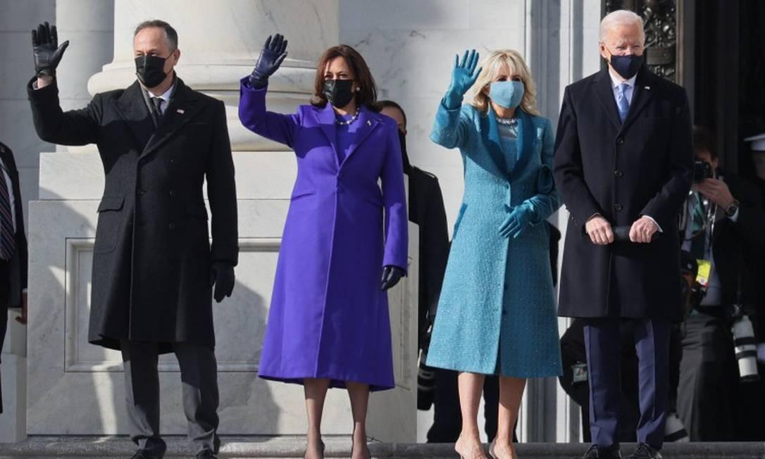 Posse de Biden: predomínio do azul Foto: JOE RAEDLE/AFP