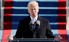 O novo presidente dos Estados Unidos, Joe biden, em seu discurso de posse Foto: POOL / REUTERS