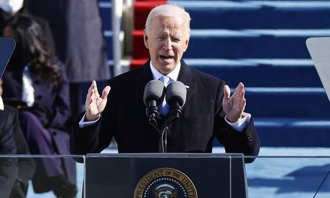 Joe Biden discursa pela primeira vez como presidente dos Estados Unidos Foto: JIM BOURG / REUTERS