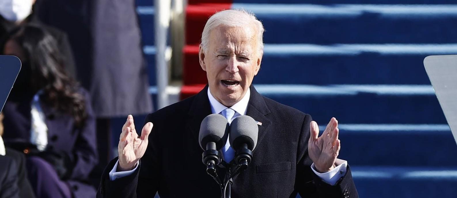 O novo presidente dos Estados Unidos, Joe biden, em seu discurso de posse Foto: JIM BOURG / REUTERS