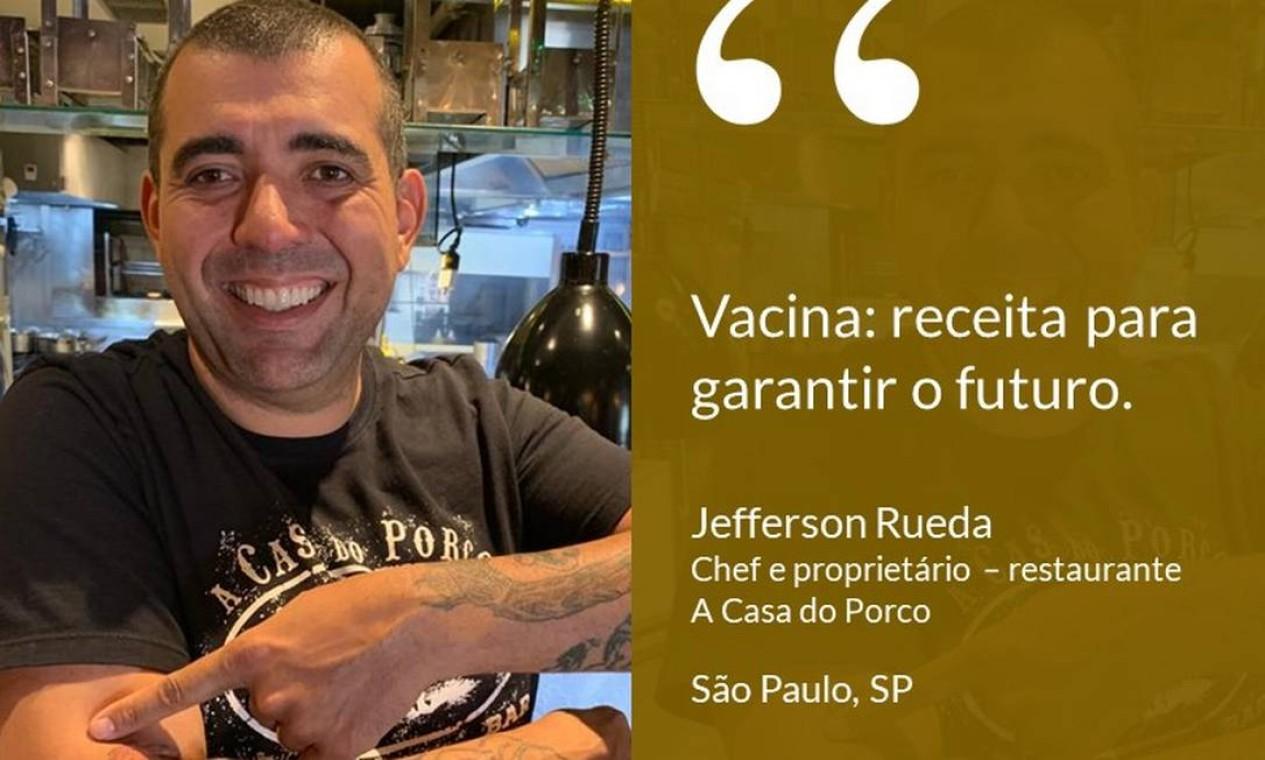 """O empresário Jefferson Rueda, chef e dono do restaurante A Casa do Porco, em SP: """"Vacina: receita para garantir o futuro"""". Foto: Divulgação"""