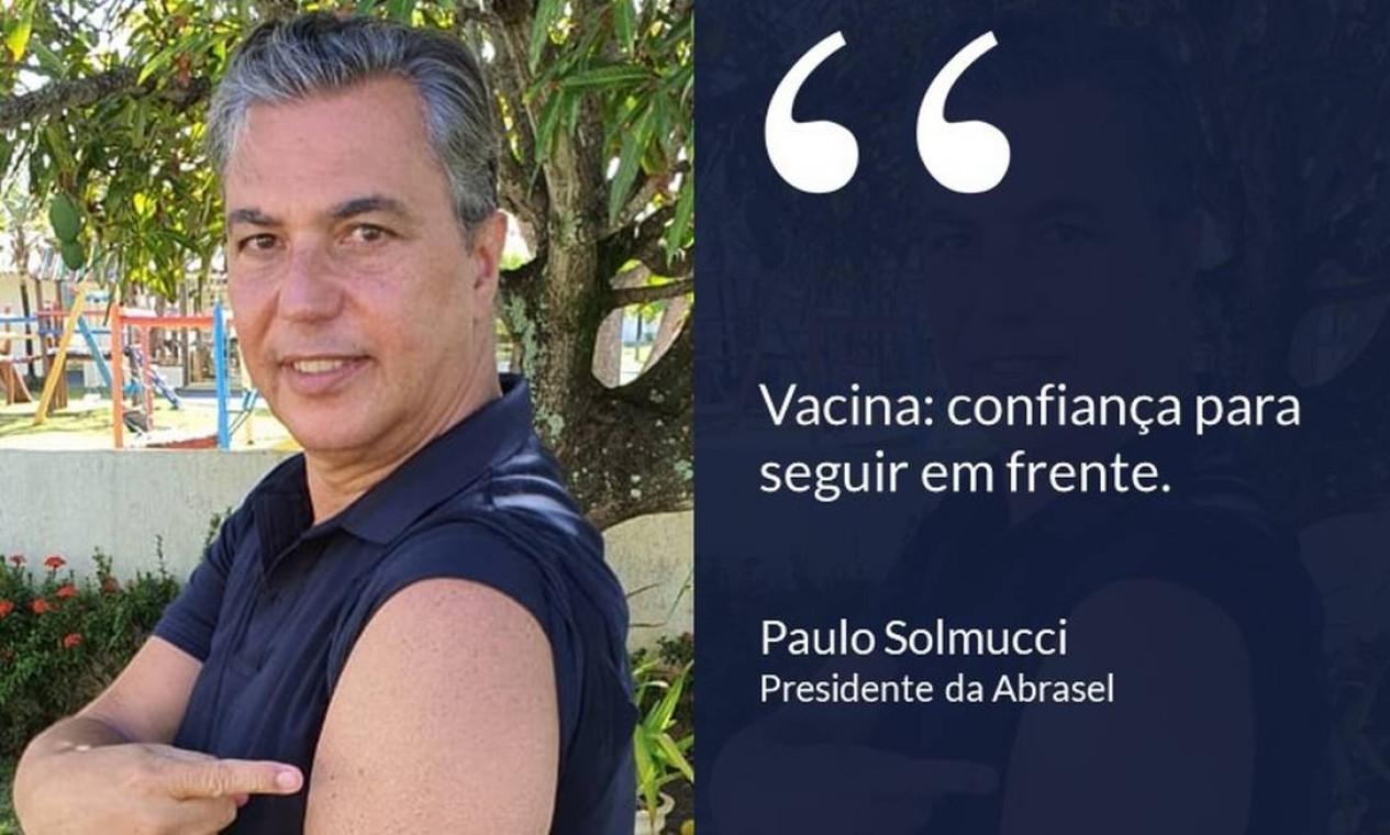 """Paulo Solmucci, presidente da Abrasel: """"Vacina: confiança para seguir em frente"""". Foto: Divulgação"""
