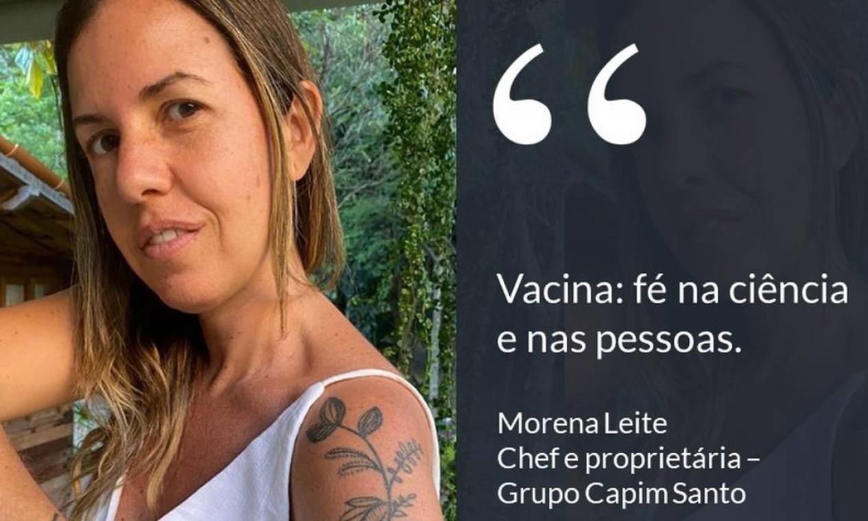 """A chef Morena Leite, dona do Capim Santo, em São Paulo: """"Vacina: fé na ciência e nas pessoas"""". Foto: Divulgação"""