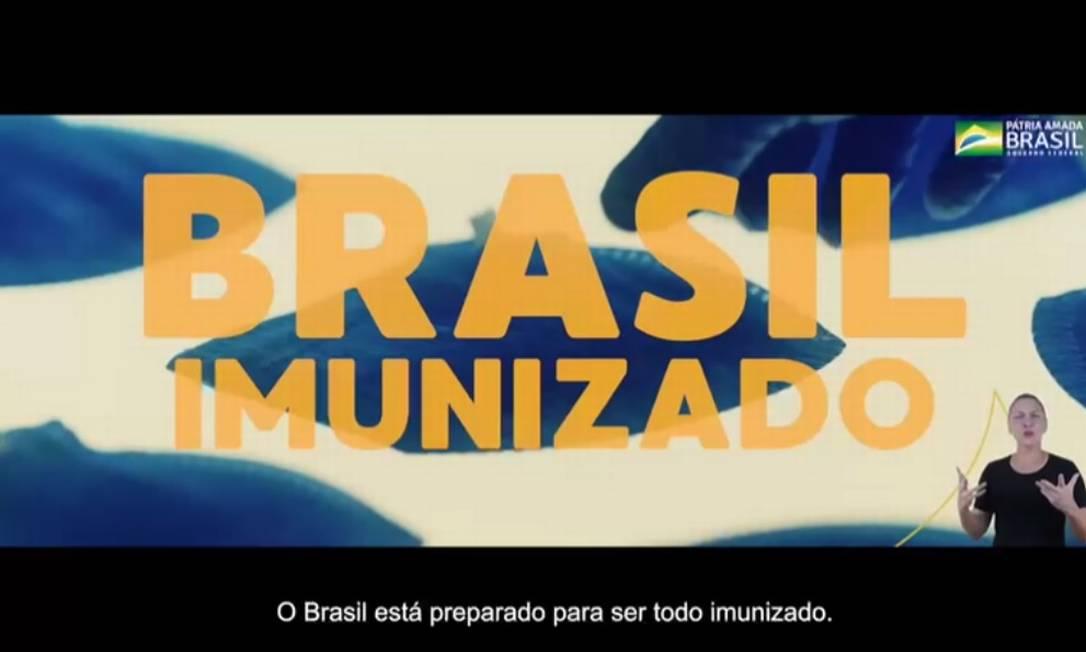 Trecho de vídeo da campanha publicitária do governo sobre vacinação Foto: Reprodução
