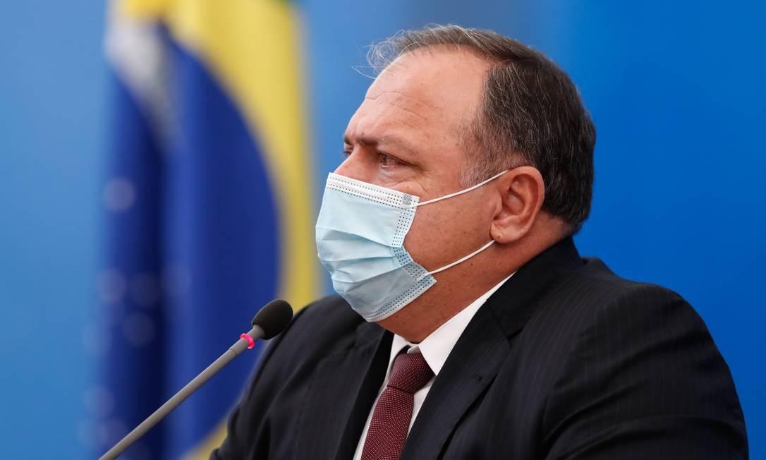 O ministro da Saúde, Eduardo Pazuello, em coletiva Foto: Alan Santos / Presidência