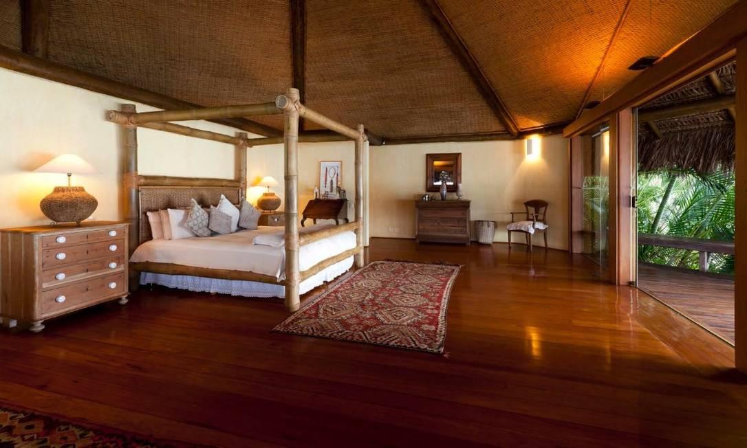 Suíte máster: projetada em dois andares para receber o proprietário da ilha Foto: Divulgação / Real Estate Brazil