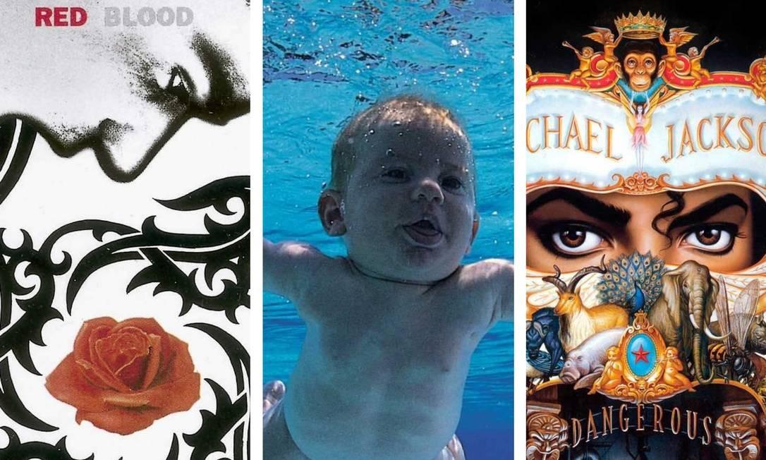 Colagem com detalhes das capas de discos de Red Hot Chili Peppers, Nirvana e Michael Jackson Foto: Arte sobre reproduções