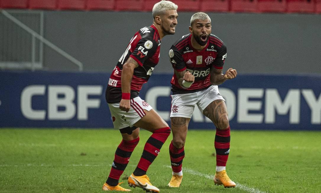Arrascaeta e Gabigol comemoram sobre o Palmeiras Foto: Alexandre Vidal/Flamengo