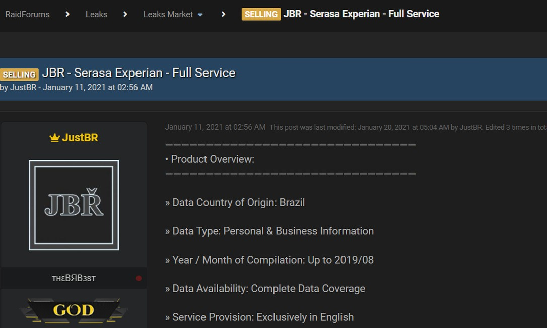 Fórum na internet vende dados roubados que seriam da Serasa Experian; empresa nega Foto: Reprodução